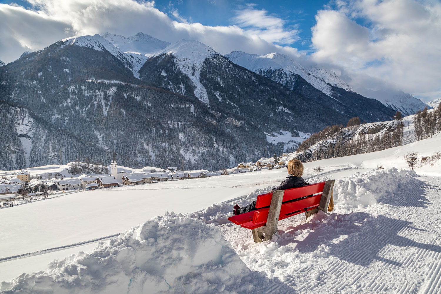 Bench in the Swiss Alps, Lower Engadine