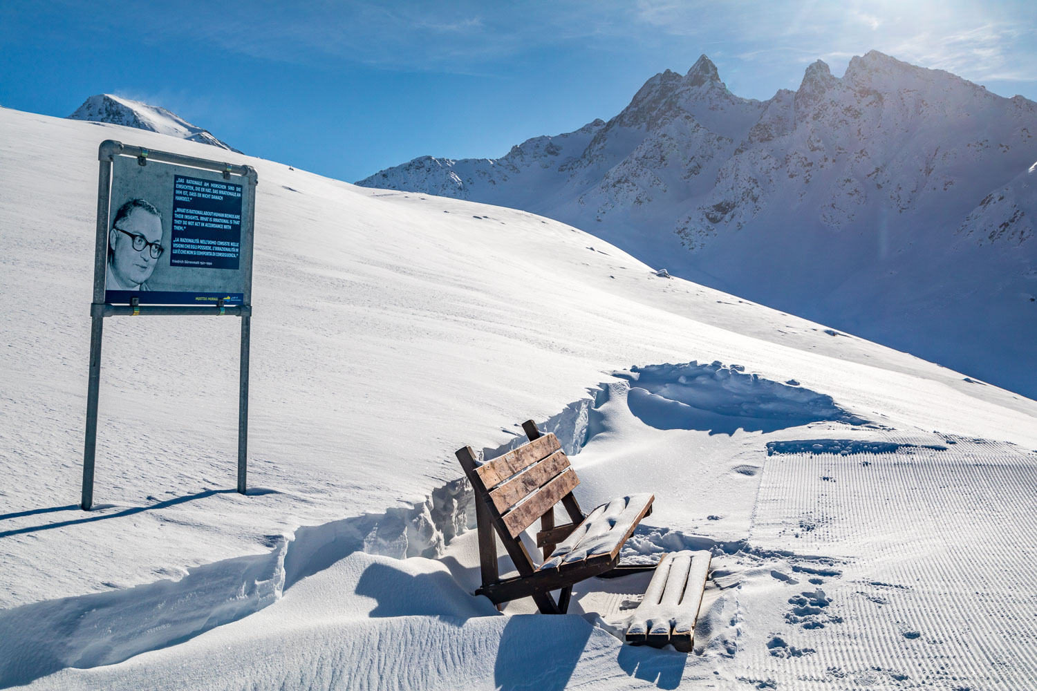 Bench on the Philosophers' Trail, Swiss Alps