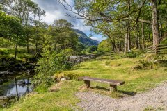 Bench by the River Derwent, Borrowdale