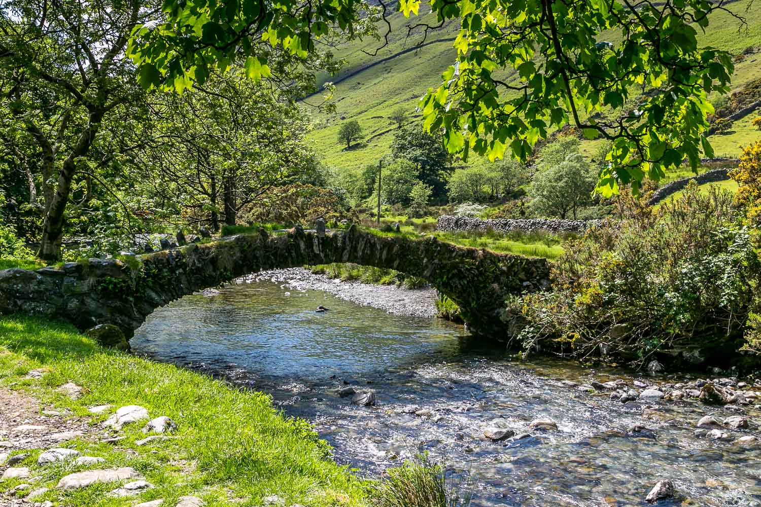 packhorse bridge over Mosedale Beck