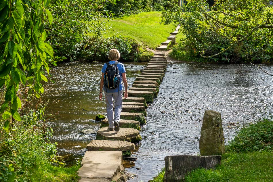 Crossing the River Esk via the stepping stones