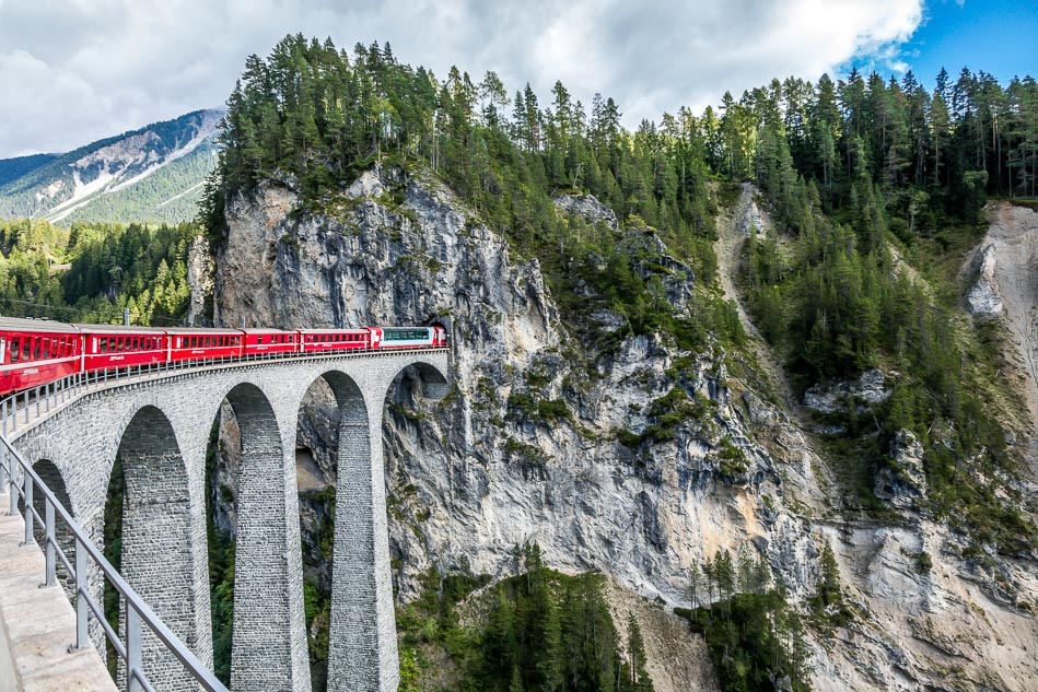 Rhaetian Railway and the Landwasser Viaduct, Swiss Alps