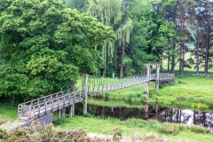 Wooden suspension bridge over the River Lowther