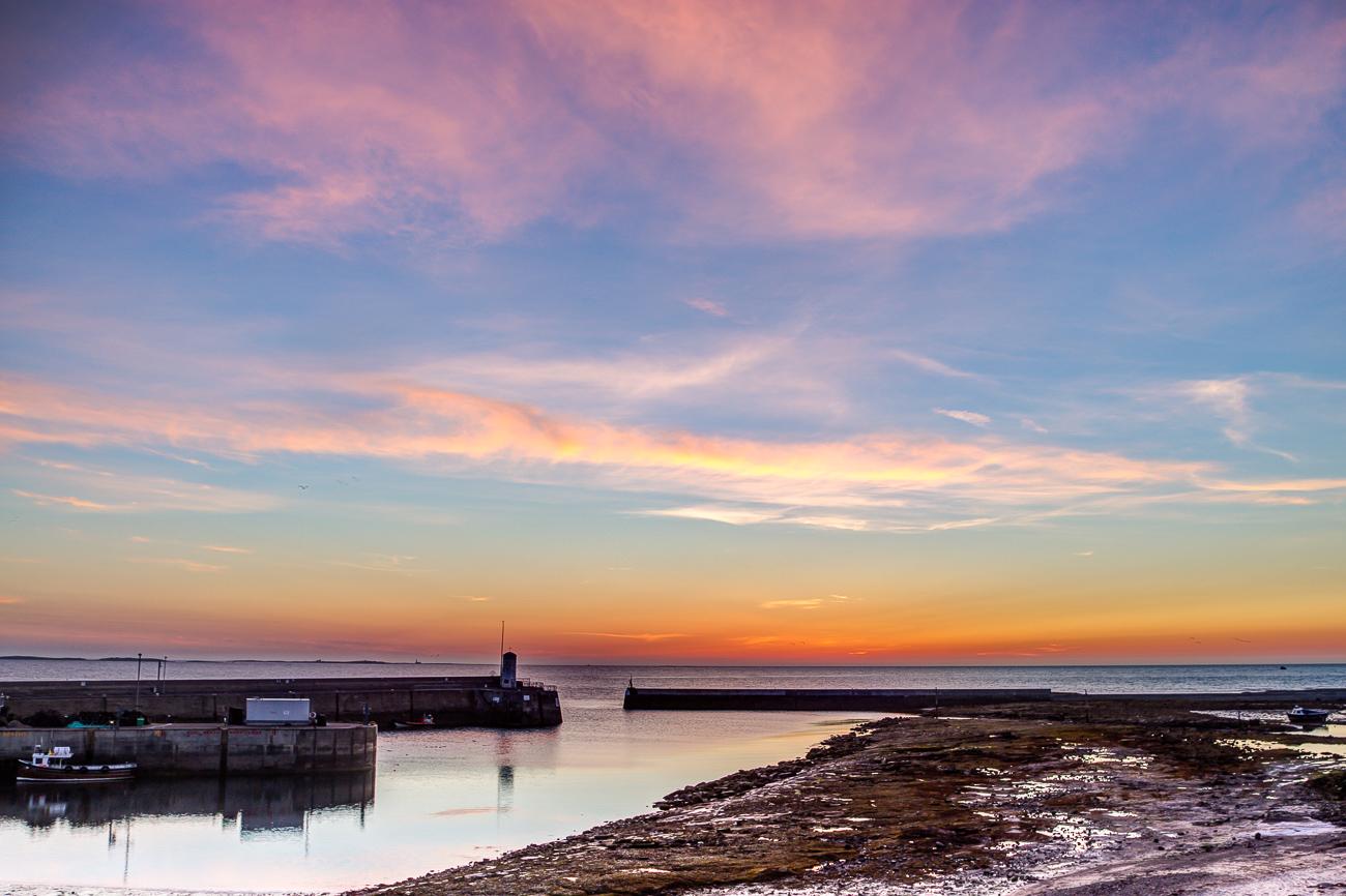 Seahouses at dawn