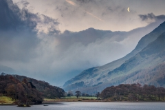 Moonset and sunrise over Crummock Water