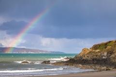 Rainbow, Pwllgwaelod beach, Dinas Island