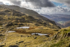 Three Tarns on the ridge between Crinkle Crags and Bowfell
