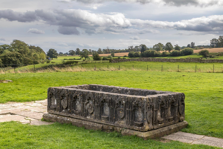 Barnard Castle walk, Egglestone Abbey, tomb of Sir Ralph Bowes
