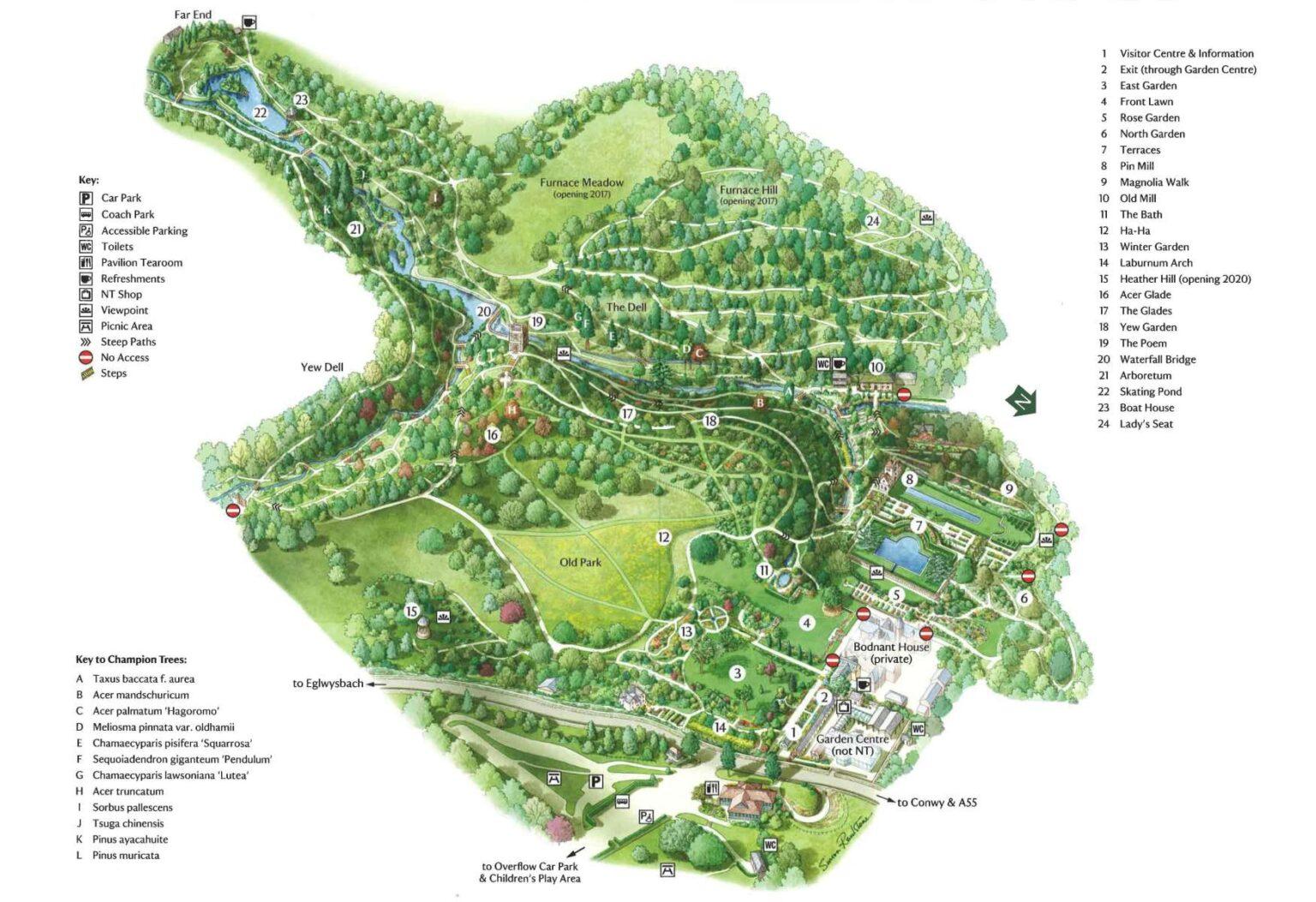 Bodnant Garden map