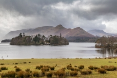 view from Crow Park to Derwent Isle and Cat Bells