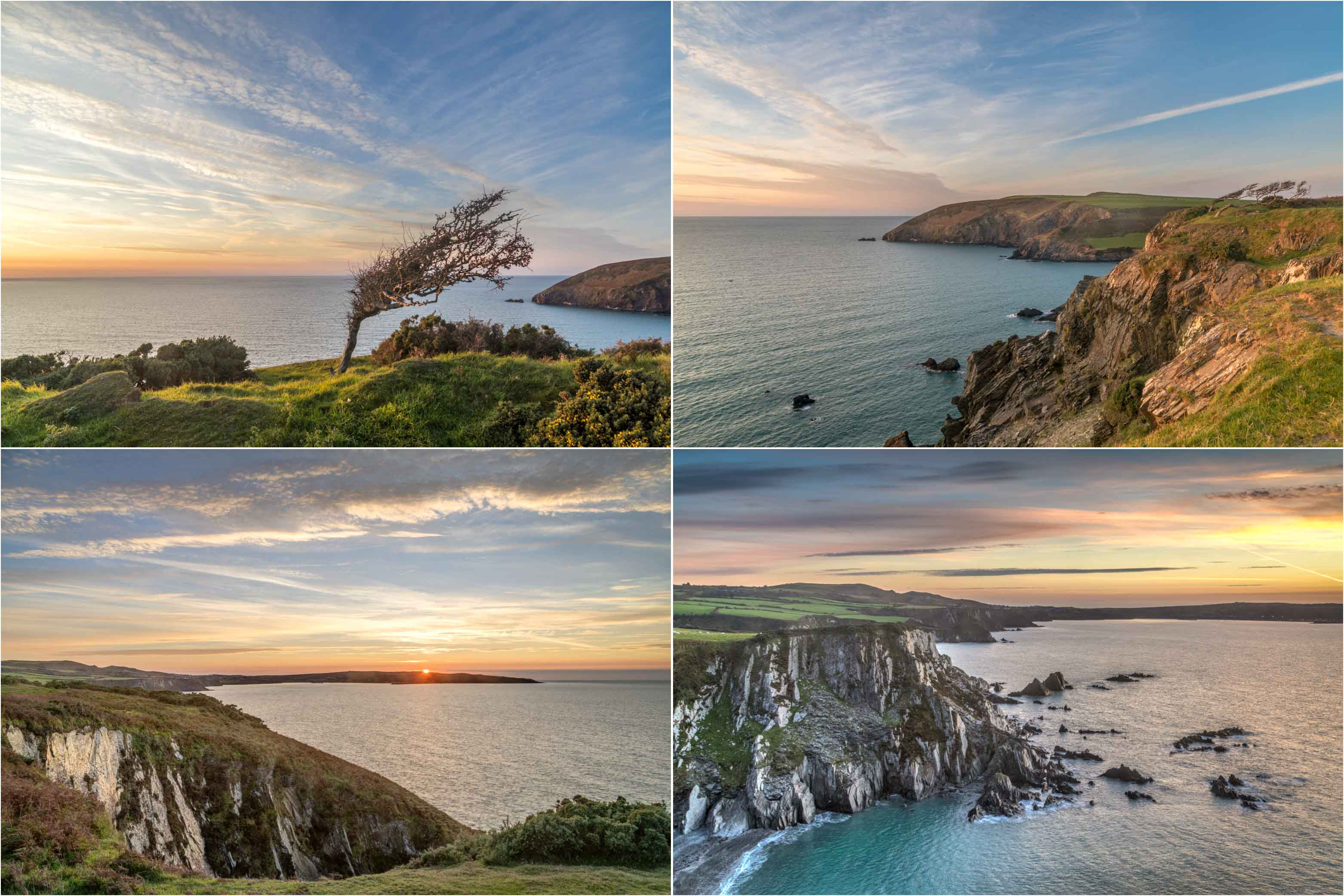 Pembrokeshire coast sunset, Fishguard Bay