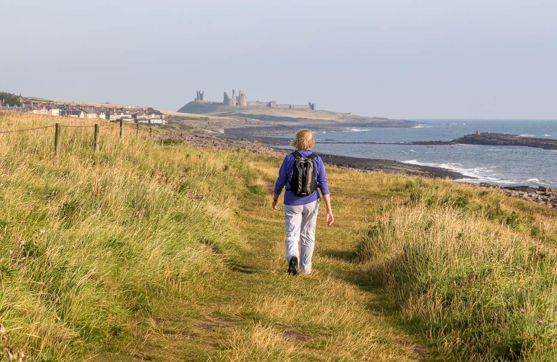 Craster walk,  Northumberland Coast Path, Dunstanburgh Castle