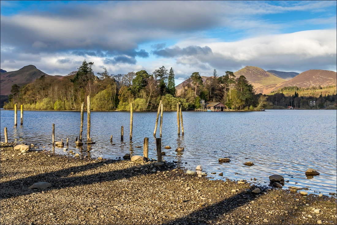View across Derwent Water to Derwent Isle and Causey Pike