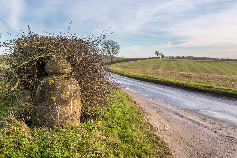 Concrete bollard, Yorkshire Wolds