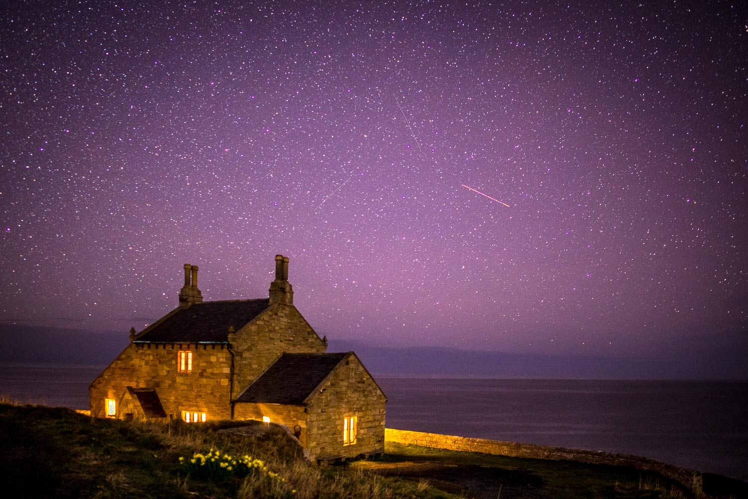 Bathing House, night skies, Northumberland skies