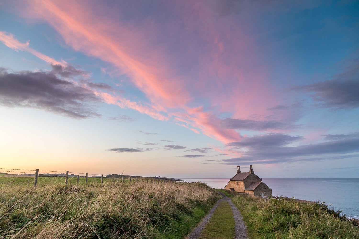 The Bathing House Northumberland sunset