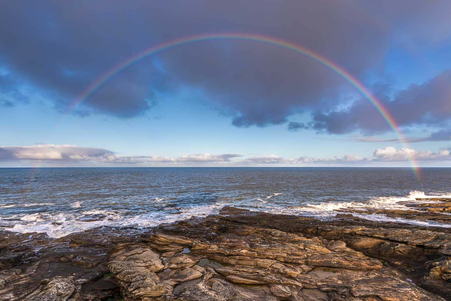 Northumberland coast, rainbow