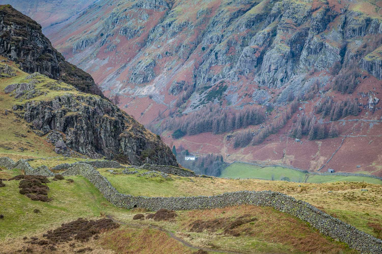 Lingmoor Fell, Great Langdale, dry stone wall
