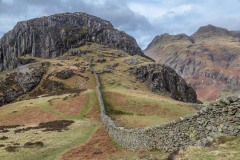 Lingmoor Fell walk, Side Pike, Langdale Pikes, dry stone wall
