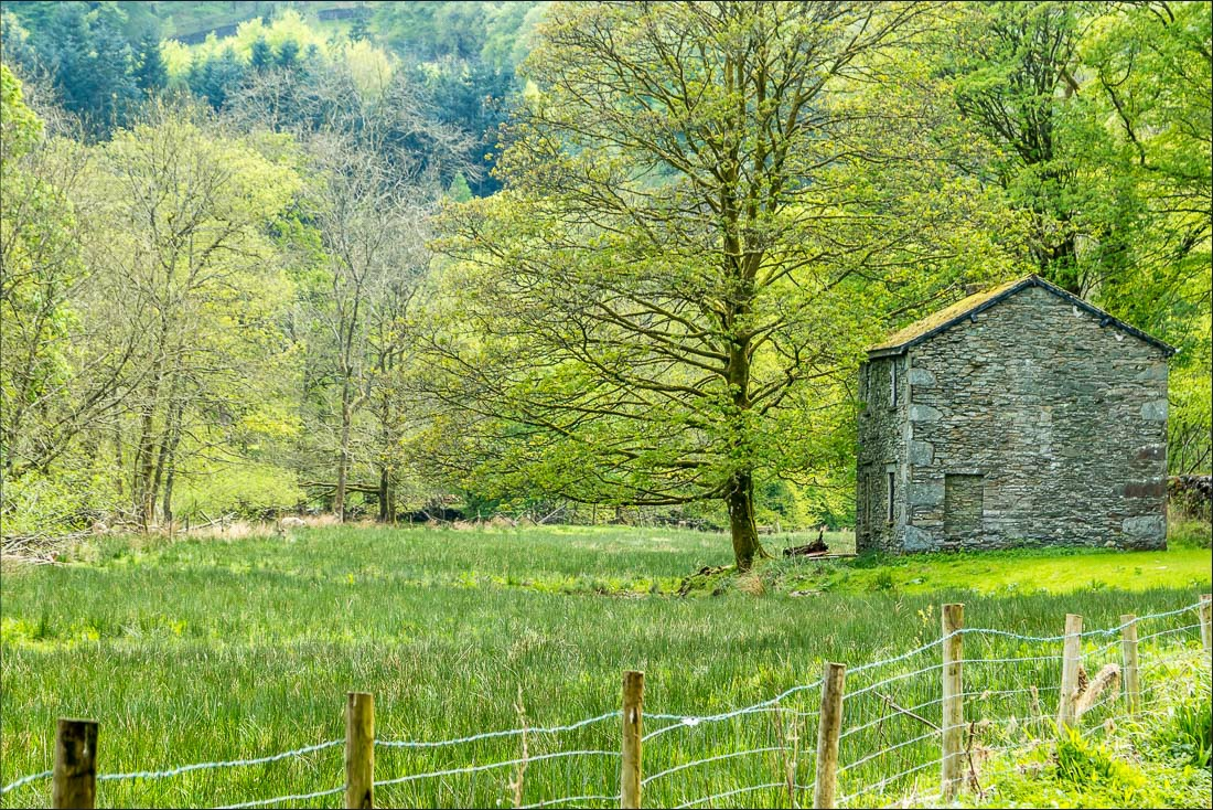 old barn by the bank of the River Rothay
