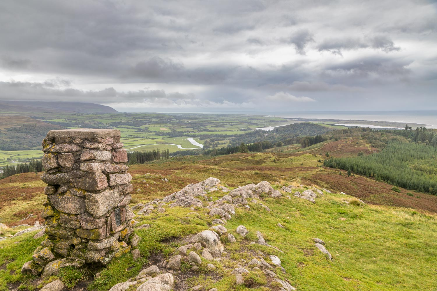 Muncaster Fell summit, River Esk, Irish Sea