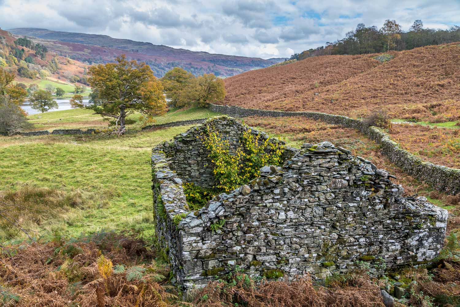 Rydal Water walk, Loughrigg Terrace, old barn