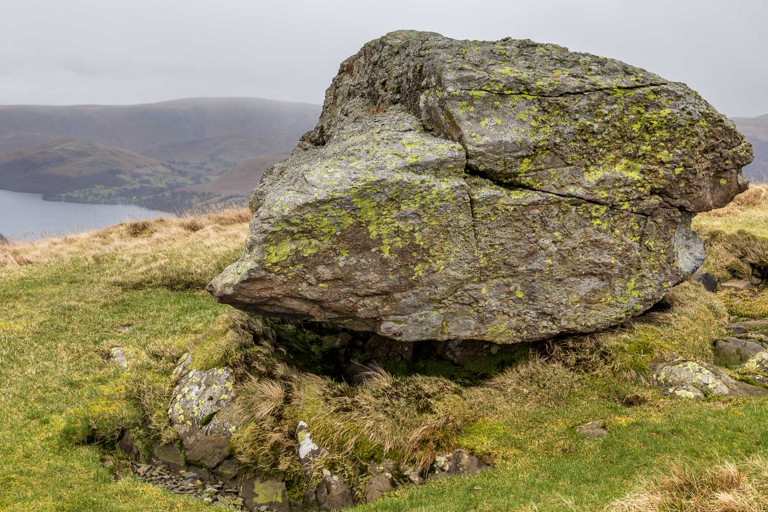 Swineside Knott walk, erratic boulder