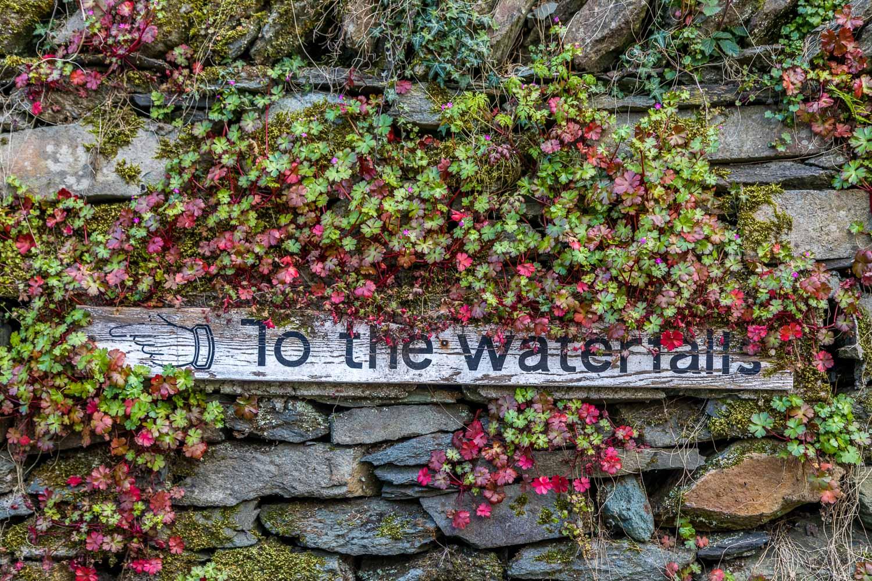 Ambleside waterfall sign